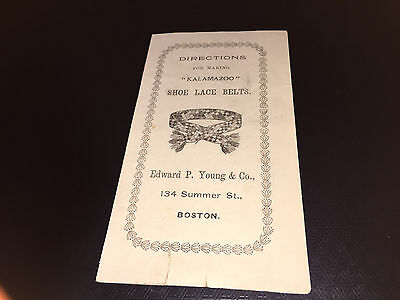 1902 Directions For Kalamazoo Shoe Lace Belts By Edward Young & Co. Boston
