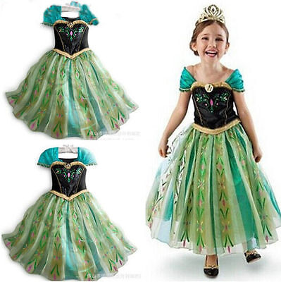 Girls Frozen Queen Anna Princess Cosplay Costume Party Fancy Dress 3-8T