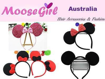 Adults and Children Mickey Minnie Mouse Ears headband Party Costume Hair Band