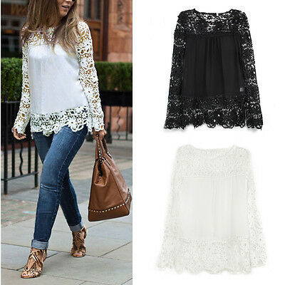 UK Fashion Ladies Hollow Embroidery Lace Chiffon Long Sleeve T Shirt Blouse Top