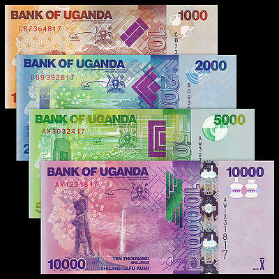 Uganda Set 4 PCS, 1000+2000+5000+10000 Shillings, 2013-2015, P-49 50 51 52, UNC