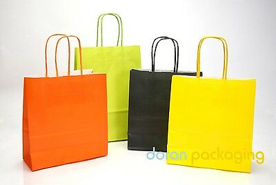 Coloured Paper Party Bags - Kraft Accessory Gift Bags With Twisted Handles
