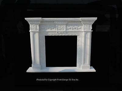 Beautiful Hand Carved Solid Marble Estate European Design Fireplace Mantel -Stn1