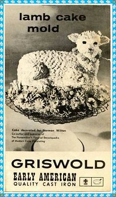 Griswold Easter Lamb Cake Cast Iron Mold 866 Original Instructions Owners Manual