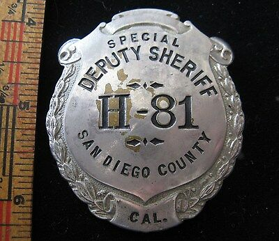Vintage Obsolete San Diego County Sheriff Special Badge