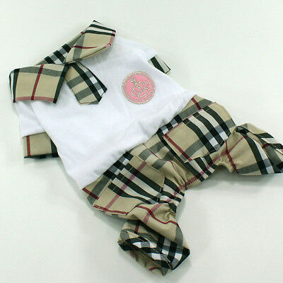 Dog&Cat Clothes[F592] Check Pattern Polo All-in-One Suits_size L