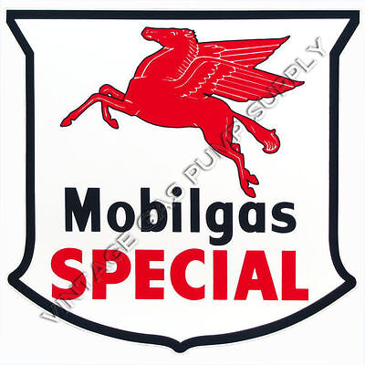 "Pair of Mobilgas Special Shield 12"" Vinyl Decals (DC130)"