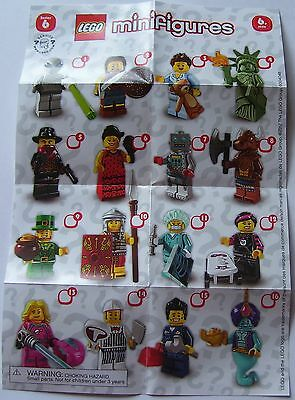 1 Pamphlet / Mini Poster Only Showing 16 Pictured Lego Series 6 8827 Minifigures