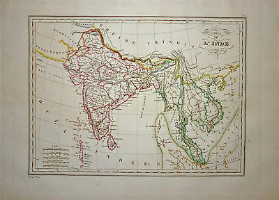 1833 Genuine Antique map of India.  Malte-Brun