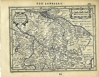 Genuine Antique map northern Germany, Lunebur, Hamburg. Mercator/Jansson 1651