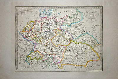 1833 Genuine Antique map Germany & Hungary. Malte-Brun