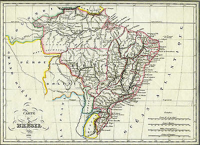 1836 Genuine Antique Hand Colored map of Brazil. Malte-Brun