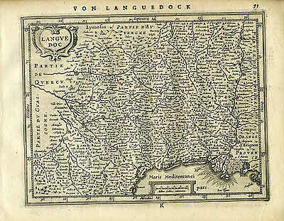 1651 Genuine Antique map of SE France. Languedock. Mercator Jansson