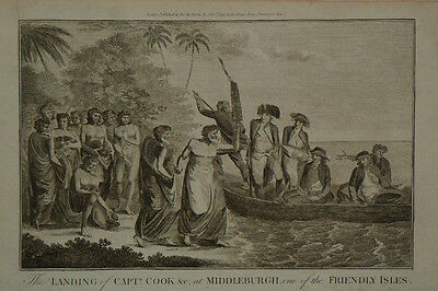 c.1780 Genuine Antique print Landing at Middleburgh. Travels of James Cook