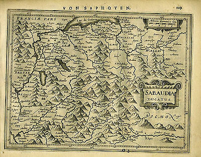 1651 Genuine Antique map East France. Lake Geneva area. Mercator Jansson