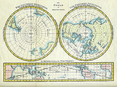 c.1790 Genuine Antique map Three World Views: North & South Polar, & Equatorial