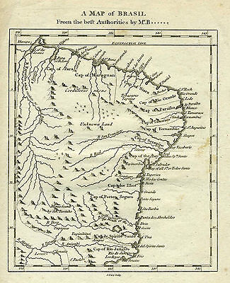 1782 Genuine Antique Map of eastern Brazil. by J. Cary