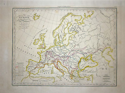 1833 Genuine Antique map of Barbary Invasion Routes. Malte-Brun