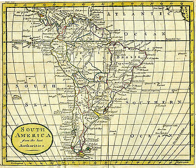 1792 Genuine Antique hand colored map of South America. by W. Guthrie
