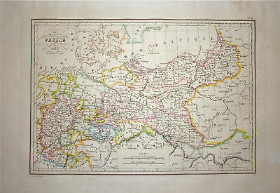 1833 Genuine Antique map of Prussia. Malte-Brun