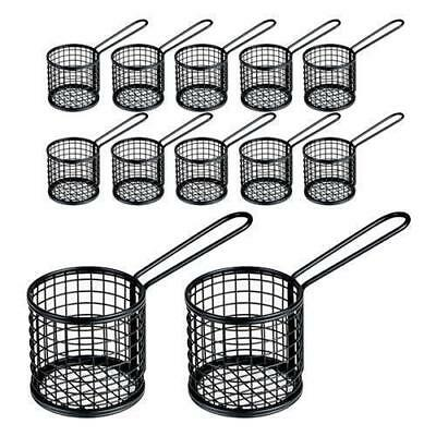 12x Fryer Style Serving Basket 80x84mm Round Black, Chips / Fries / Sides /Tapas