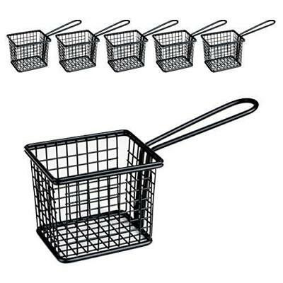 6x Fryer Style Serving Basket 78x94mm, Black, Chips / Fries / Sides / Tapas