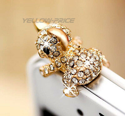 3.5mm Universal Crystal Diamond Cute Koala Dust Plug Anti Dust Proof for Girls
