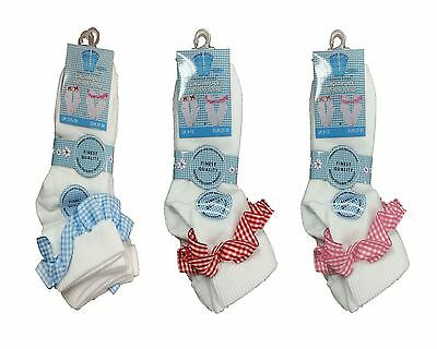 Pack Of 3 Pairs Girls Gingham Lace Bow Socks Frilly White Ankle School Socks