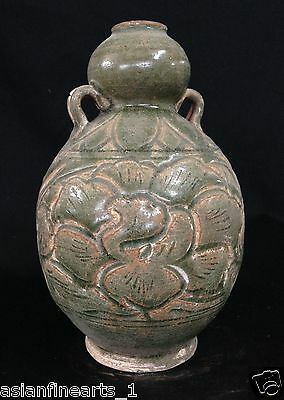 Old Song Dynasty Chinese Antique Porcelain Vase Lovely Green-Glazed Vessel #473