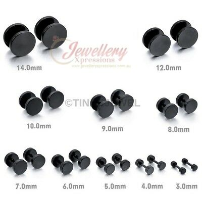 Barbell Punk Gothic Stainless Steel Ear Studs E051 E052