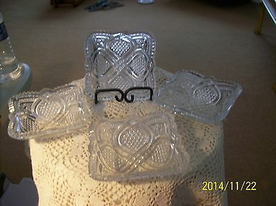 American Brilliant Crystal Square Vintage Berry Dishes Ribbon & Star Pattern