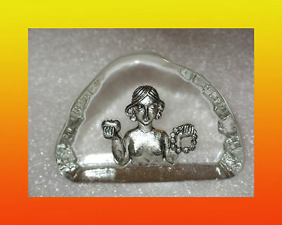 Vintage Hand Made Czech Bohemia Crystal Paperweight / Zodiac Virgo