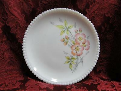 Westmoreland Beaded Edge Milk Glass, Coral Pink Flowers: Salad Plate, 7.5""