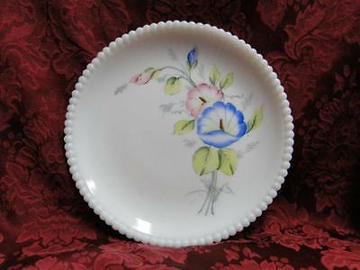 Westmoreland Beaded Edge Milk Glass, Pink & Blue Flowers: Salad Plate, 7.5""