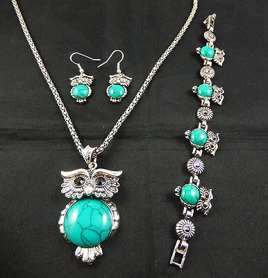 Tibet silver  Owl Turquoise Inlay  Pandent Necklace Earrings bracelet Set