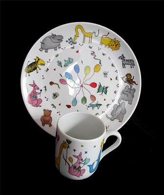 Vista Alegre Animal Party 2 Piece Child's Dish Set Mug Plate Balloons Portugal