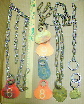 Lot of 7 Vintage Brass & Plastic Cow Cattle Livestock Ear ID Tag Chains Numbers
