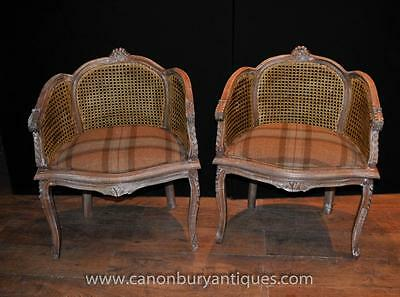 Pair French Regency Arm Chairs Bergere Rattan Fauteils