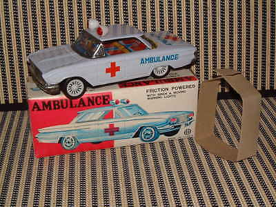FULL TIN FRICTION DRIVE AMBULANCE W/SIREN & MOVING ROOF LIGHTS! WORKING IN BOX!!