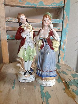 Antique Vintage Set Of 2 Large Colonial Figurines Made In Japan Beautiful Pair