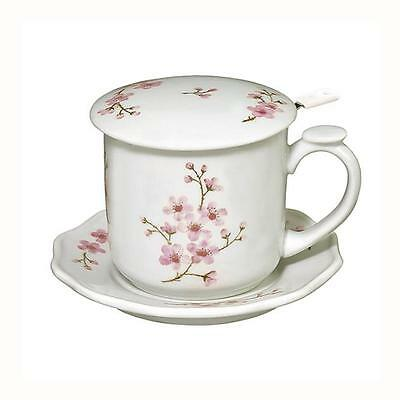 Andrea by Sadek Pink Cherry Blossom Flower Covered Mug Cup Strainer Saucer 21337
