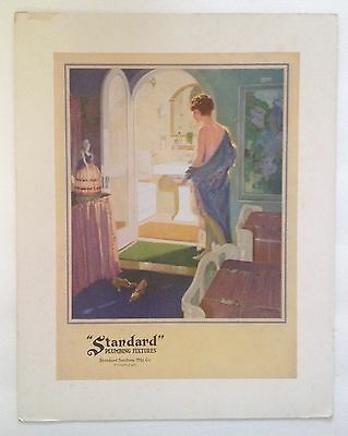 "1920s Cardboard Advertising Sign for ""Standard"" Plumbing Fixtures w/ lady"