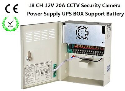 CCTV Camera 12V DC 18Channel 20A UPS Box Power Supply Support Battery CE ROHS