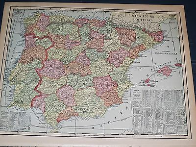 1906 Original  Cram Antique MAP SPAIN PORTUGAL listing Population of Cities