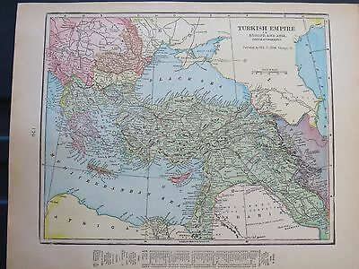 1903 Cram  Antique   MAP TURKEY EMPIRE   Listing Population