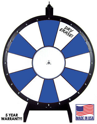 30 Inch Blue and White Portable Dry Erase Spinning Prize Wheel