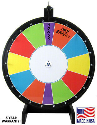 "36""  Carnival Color Dry Erase Trade Show Prize Wheel - 2 Bonus Sections"