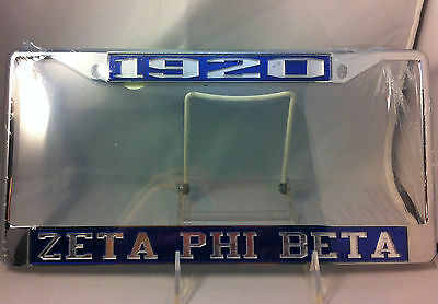 Zeta Phi Beta Sorority Founding Year Blue/Silver License Plate Frame- New!