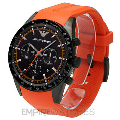on sale cheapest first look NEW* MENS EMPORIO Armani Sportivo Orange Rubber Watch ...