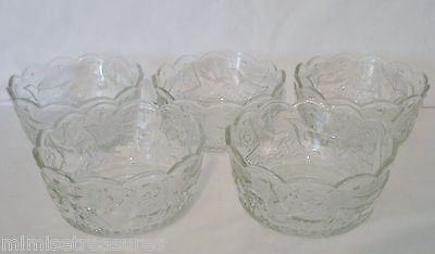 """5 pc Mikasa Crystal Dove & Butterfly Embossed 5"""" Bowls Salad Small Glass Bowl"""